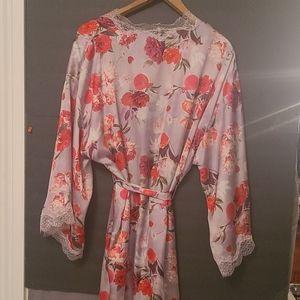 Victoria's Secret Lace Trim Silk Robe